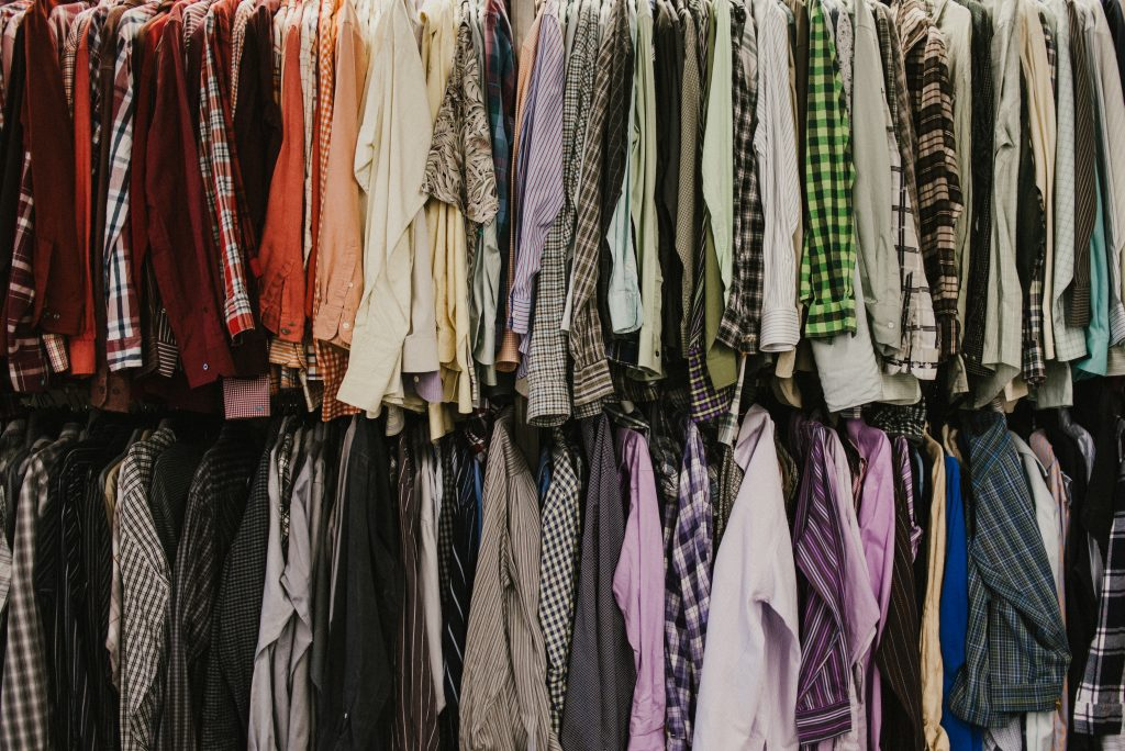 Used shirts at goodwill donation center