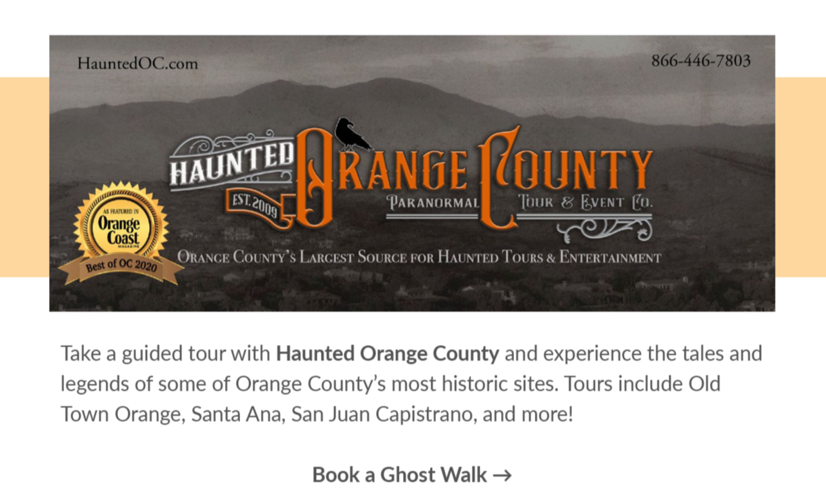 Poster of a guided tour with haunted orange county