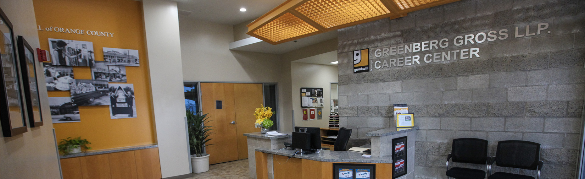 Greenberg Gross LLP career center reception area at goodwill orange county