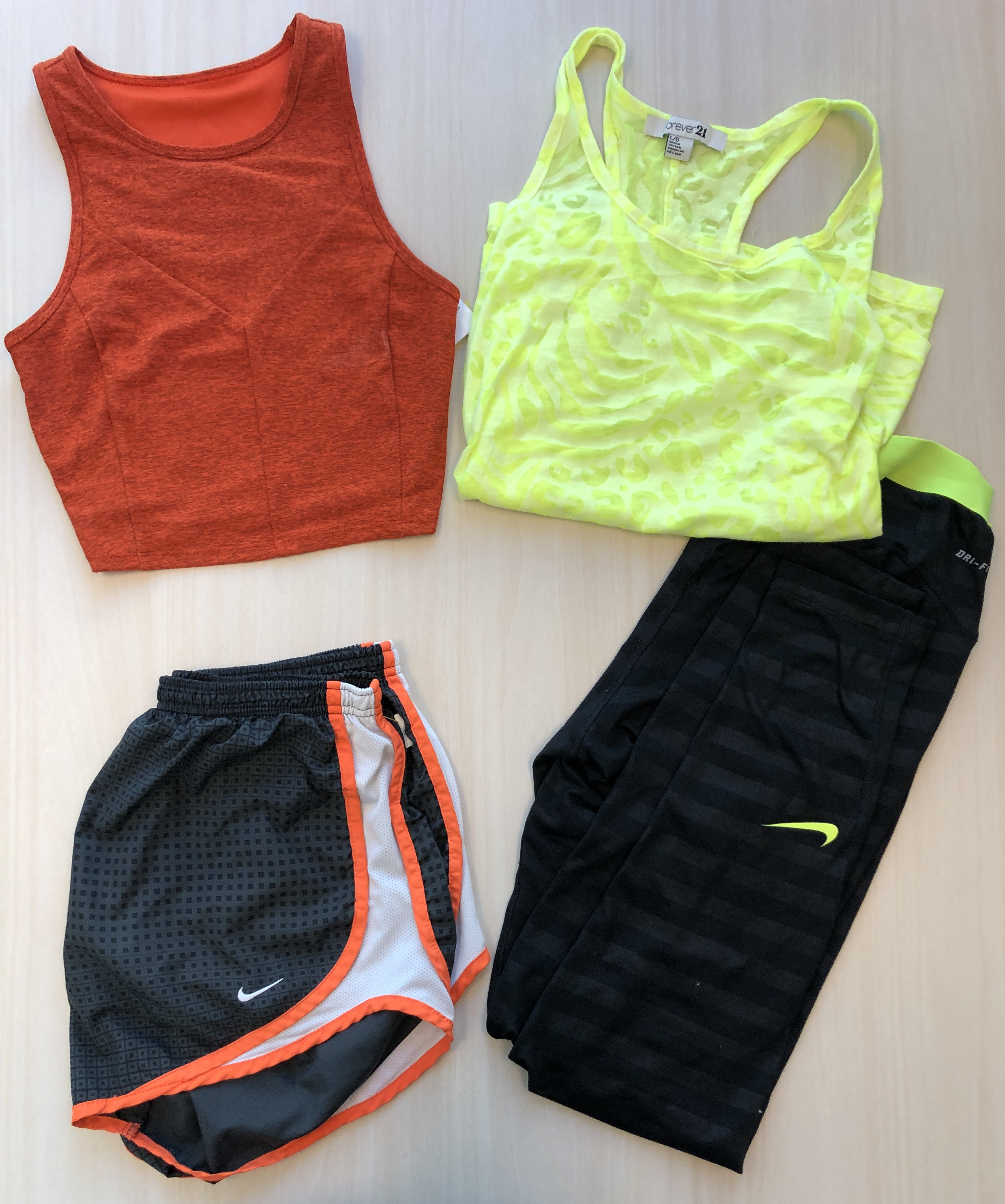 Two tank tops and two shorts