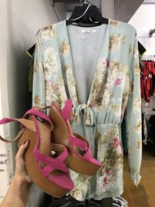 Floral romper and pink heels