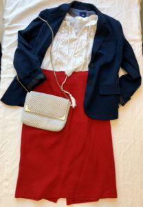 White lace top with a statement red pencil skirt and a navy blazer