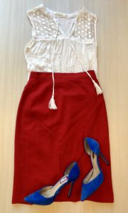 White lace top with a statement red pencil skirt and royal blue shoes