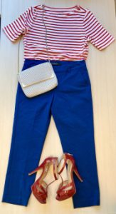 Blue pants, red and white stripped shirt, and red heels