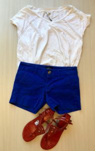Blue shorts with a classic white t-shirt and red sandals