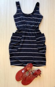 Navy and white striped dress and red sandals
