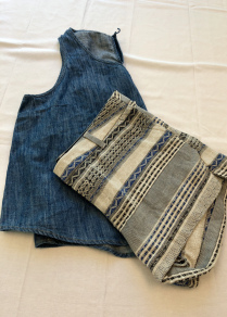 Solid denim top with printed shorts