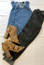 Accented black jeans with a denim top and some casual heels