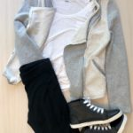 Black leggings with a white top, cool sneakers, and a cute casual  jacket