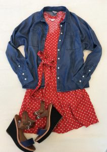 Red polka dot dress, jean jacket, and heels