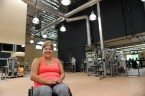 Devina Robias poses inside Goodwill of Orange County's Rogers A. Severson Fitness & Technology Center