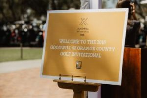 Sign that reads Welcome to the 2018 Goodwill of Orange County Golf Invitational
