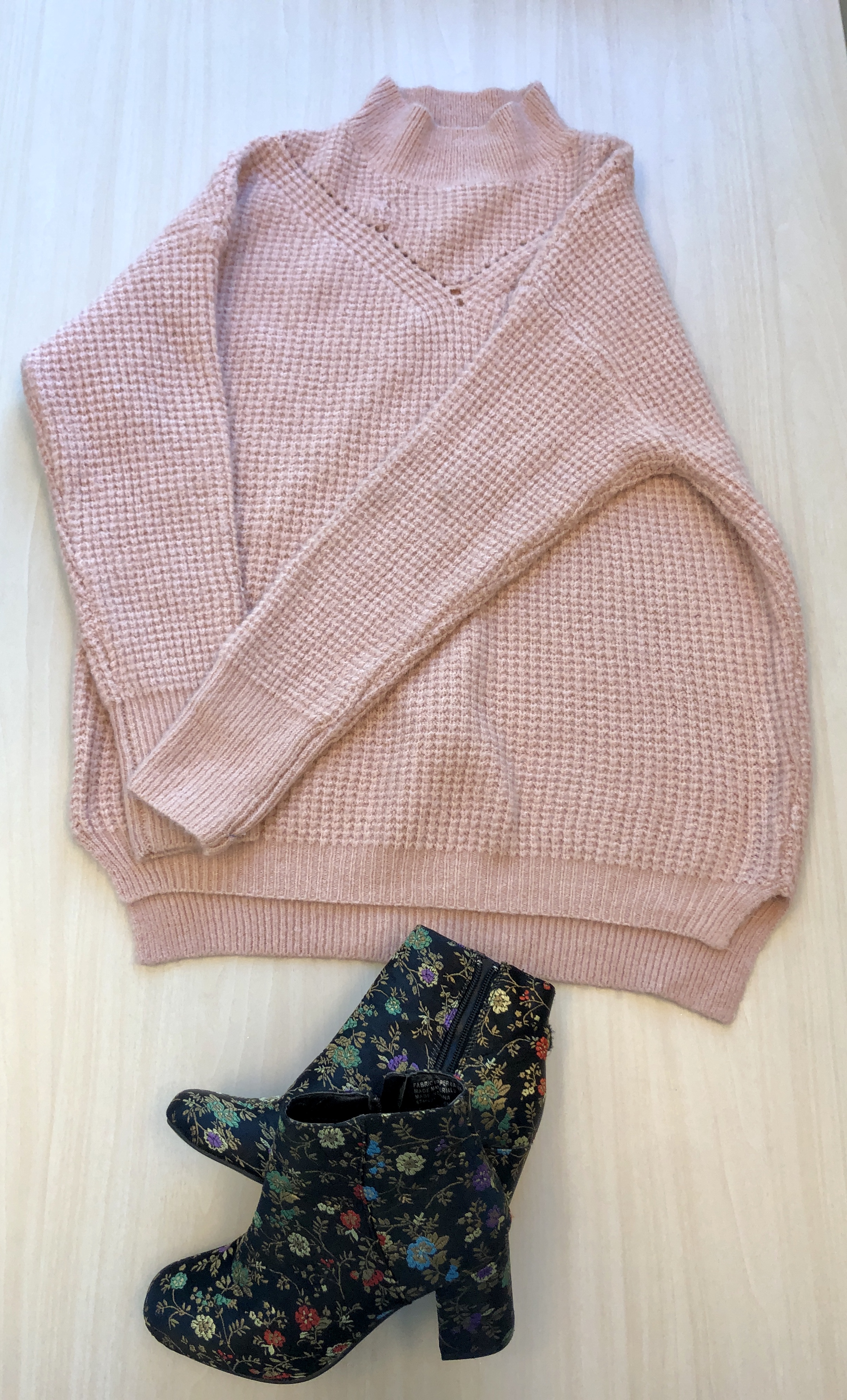 Pink sweater and floral heels