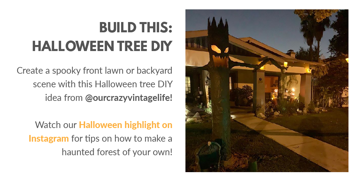 Spooky front lawn with Halloween tree DIY of a house