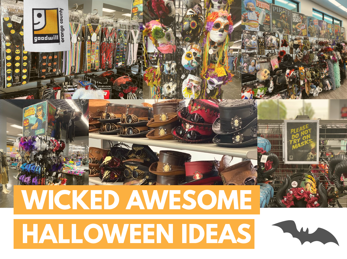 Halloween products and costumes displayed at Good will, Orange county