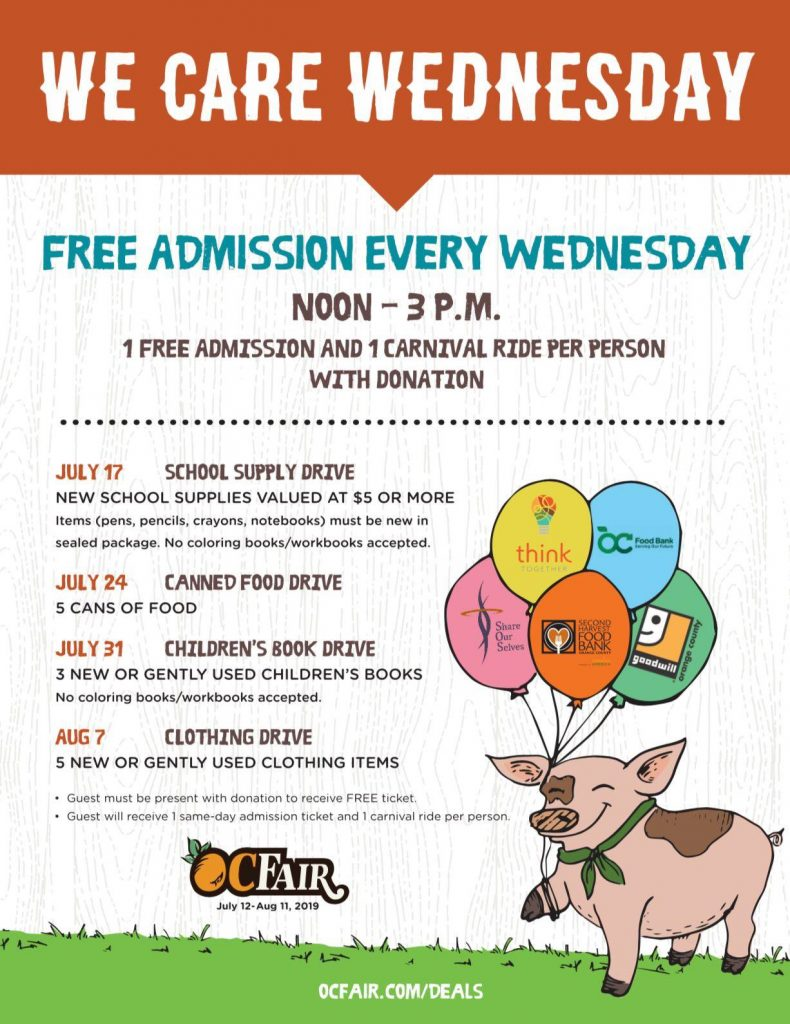 OC Fair We Care Wednesday Invitation card with events listed