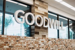 Goodwill logo on wall