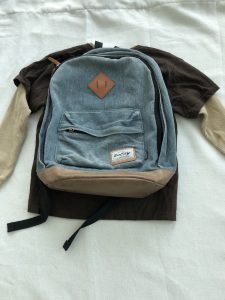 Kids' clothes and denim back pack