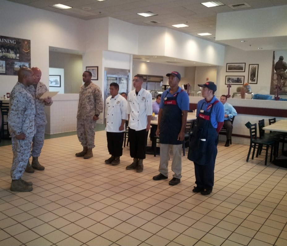 John Wong 4 with his co-workers at Camp Pendleton Marine Base.