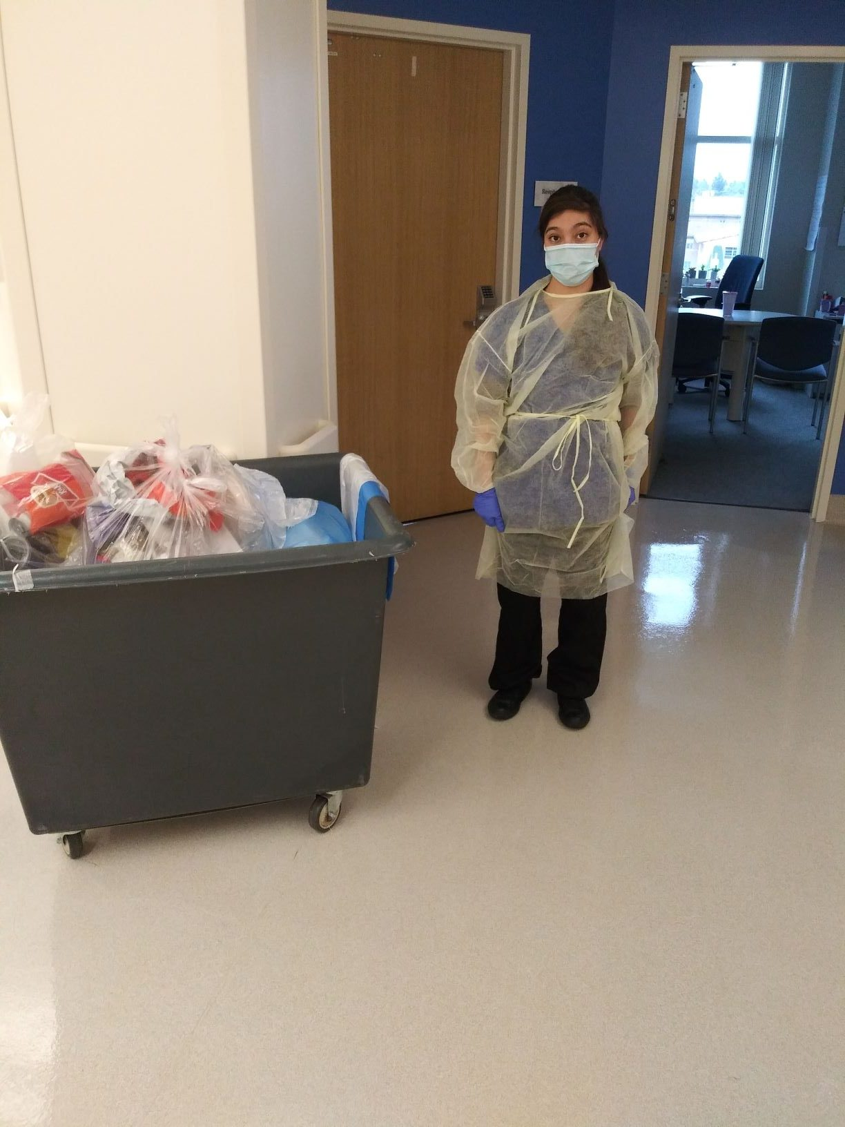 Liliana wearing mask and PPE at Children's Hospital of Orange County
