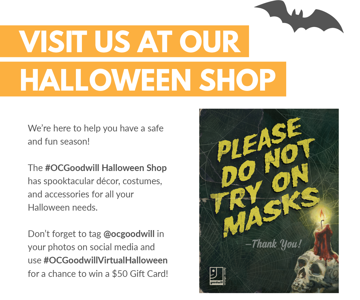 Message to customers from Goodwill Halloween shop