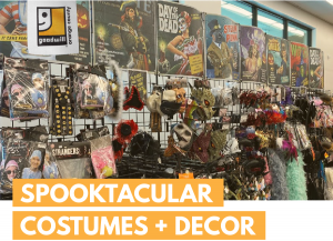 Halloween products, posters and costumes displayed at Good will, Orange county