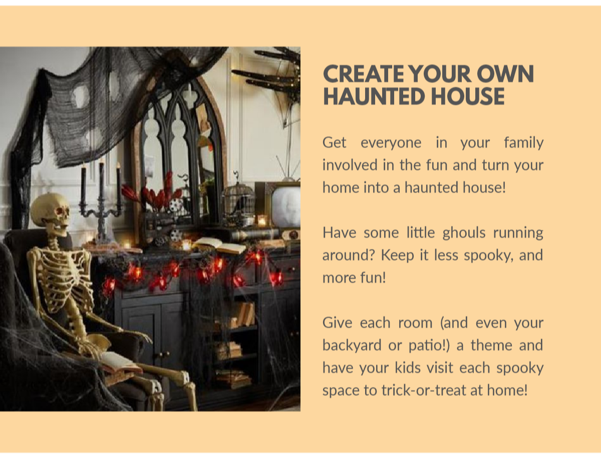 Creative haunted house with skeleton